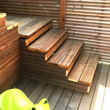 Aménagement de jardin en terrasse bois, abris bois, carport bois, platelage, palissades, panneaux, etc. Paysagiste pays de gex 01170